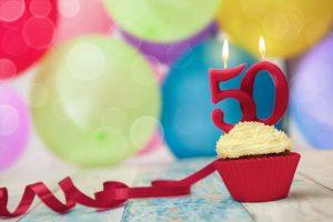 turning 50 cupcake and balloons