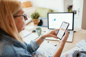 woman reviewing financial plan