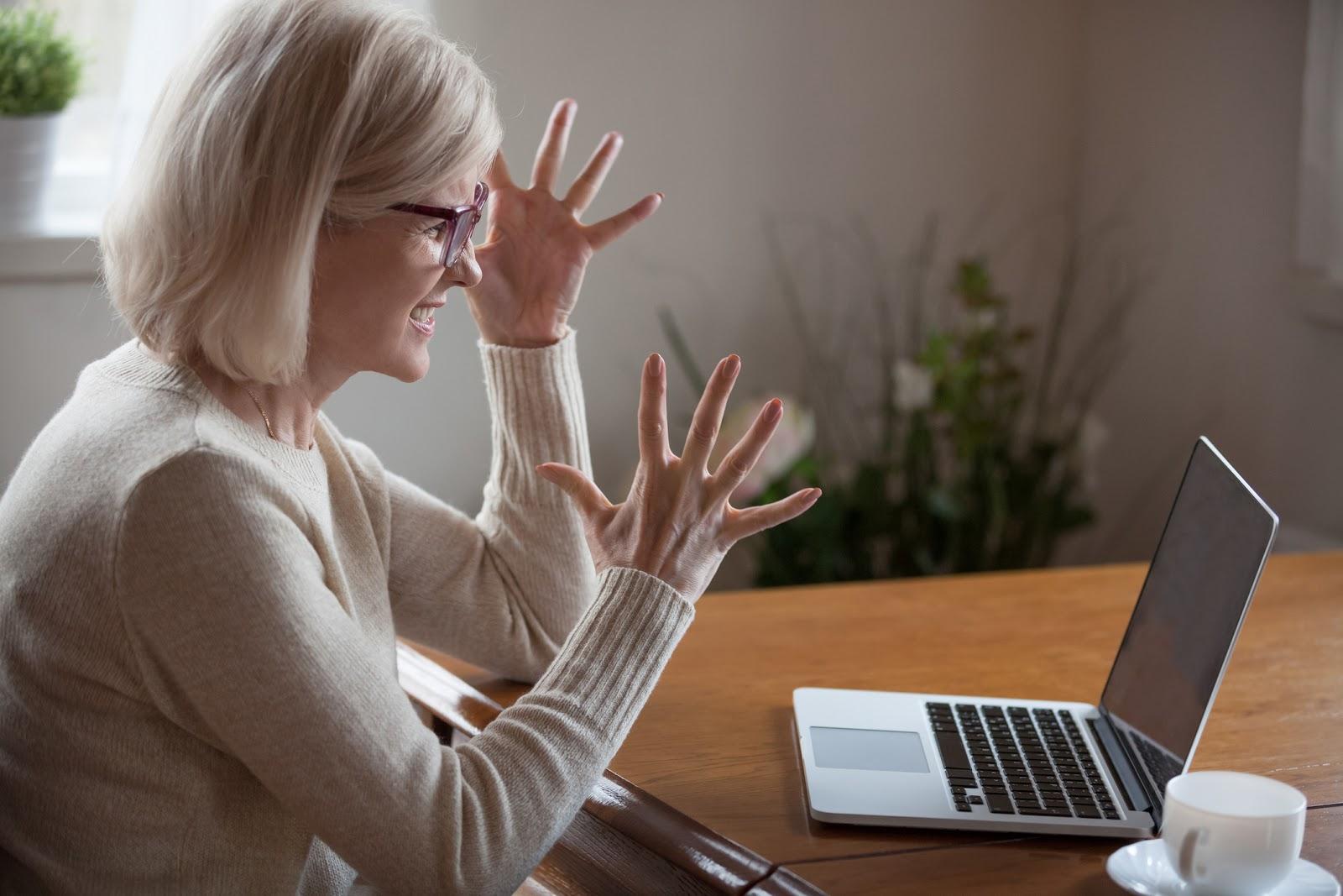 retiree experiencing online financial fraud